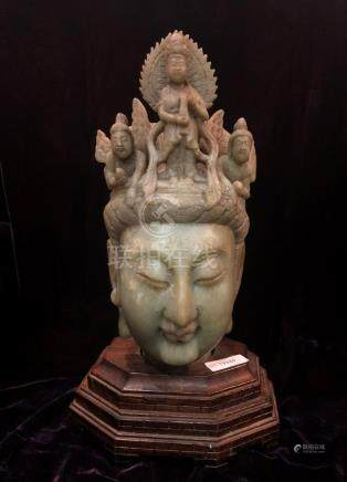 Carved Stone Head of Crowned Guanyin