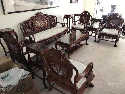 ROSEWOOD AND MOTHER-OF-PEARL INLAY LIVING ROOM SET