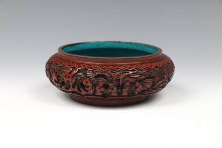 CHINESE CARVED CINNABAR LACQUER WATERPOT, 18TH C.