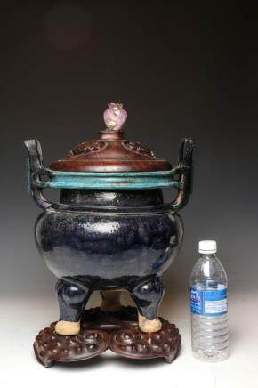 LARGE CHINESE CENSER, MING (W/ PARTIAL REPAIR)