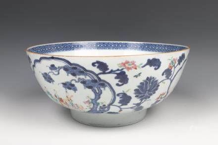 LARGE EXPORT FAMILLE ROSE PUNCH BOWL, 18TH C.