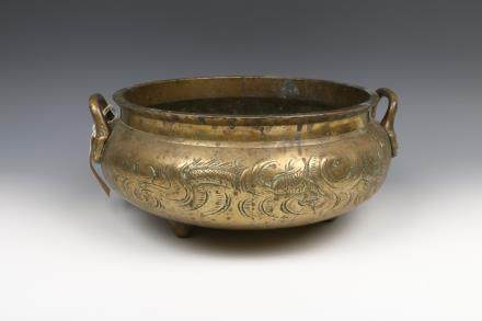 CHINESE TRIPOD BRONZE DOUBLE EAR CENSER, 19TH C.