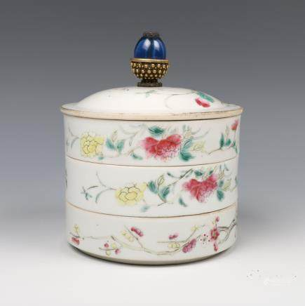THREE-TIERED FAMILLE-ROSE FLORAL BOWL, REPUBLICAN P., TONGZHI MARK