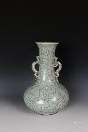 CHINESE GE-TYPE DOUBLE EAR VASE, QING
