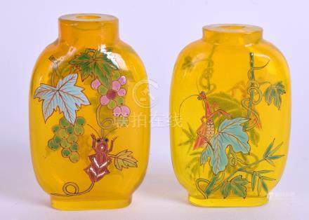 TWO CHINESE ENAMELLED SNUFF BOTTLES. 7.5 cm high. (2)