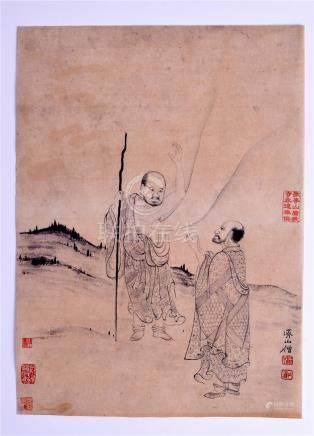 FOUR CHINESE PICTURES. 21 cm x 28 cm. (4)