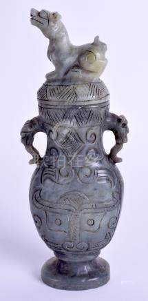 A CHINESE HARDSTONE VASE AND COVER. 16 cm high.