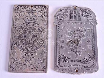 TWO CHINESE SCROLL WEIGHTS. 5 cm x 10 cm. (2)
