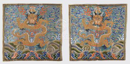 PAIR OF CHINESE MANDERIAN OFFICIAL RANK BADGES OF FIVE-PAW DRAGON QING DYNASTY