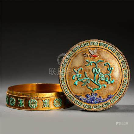 CHINESE GILT SILVER TURQUOISE LAPIS CORAL INLAID ROUND LIDDED BOX QING DYNASTY