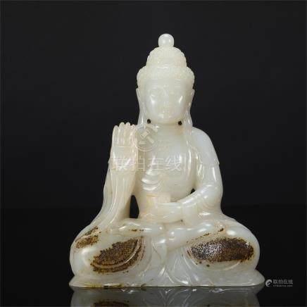 CHINESE WHITE JADE SEATED BUDDHA