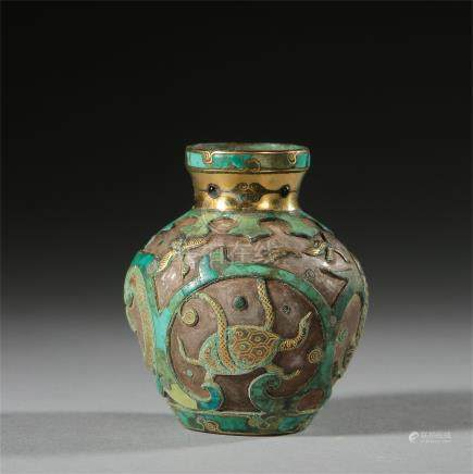 CHINESE TURQUOISE DÉCOR GOLD INLAID BIRD AND TIGER SILVER JAR HAN DYNASTY