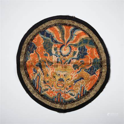 CHINESE EMBROIDERY DRAGON MANDERIAN OFFICIAL ROUND RAND BADGE