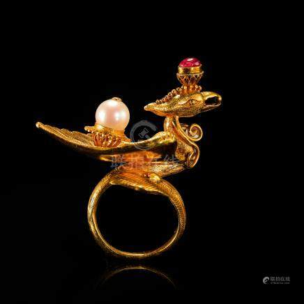 CHINESE PURE GOLD PEARL RUBY INLAID PHOENIX RING