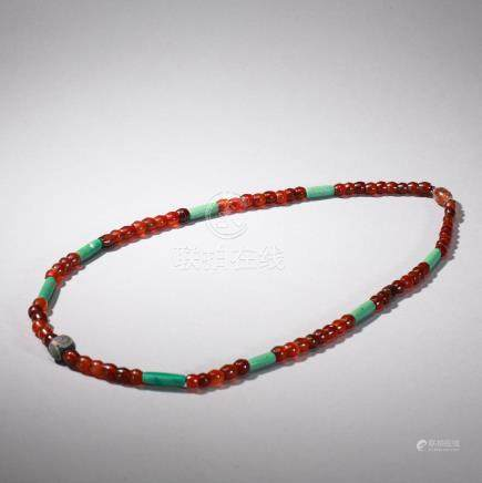 CHINESE RED AGATE TURQUOISE BEAD NECKLACE WEST ZHOU DYNASTY