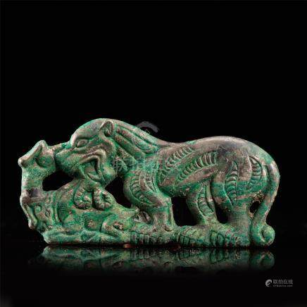 CHINESE SILVER BEAST PLAQUE