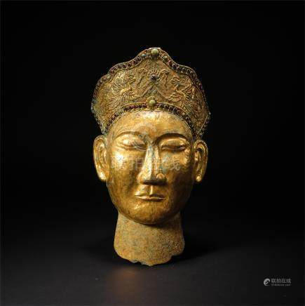 CHINESE GILT BRONZE MASK LIAO DYNASTY