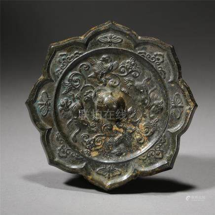 CHINESE BRONZE BIRD FLOWER SHAPED MIRROR TANG DYNASTY
