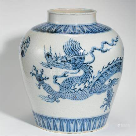 CHINESE PORCELAIN BLUE AND WHITE DRAGON WATER JAR