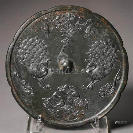 CHINESE BRONZE PEACOCK FLOWER SHAPED MIRROR