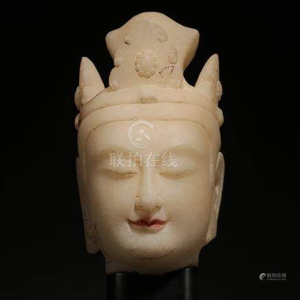 CHINESE ALABASTER GUANYIN HEAD TAND DYNASTY