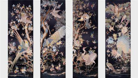 FOUR PANELS OF CHINESE EMBROIDERY TAPESTRY OF BIRD AND FLOWER