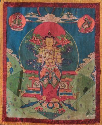 TIBETAN EMBROIDERY THANGKA OF STANDING BUDDHA
