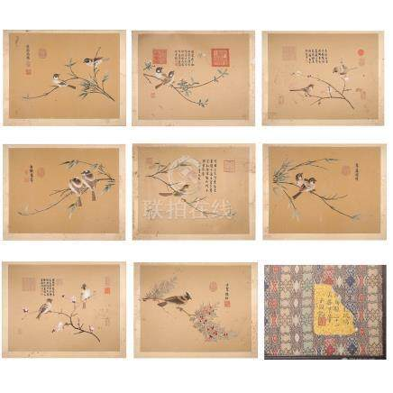 EIGHT PAGES OF CHINESE EMBROIDERY PAINTING OF BIRDS BOOK
