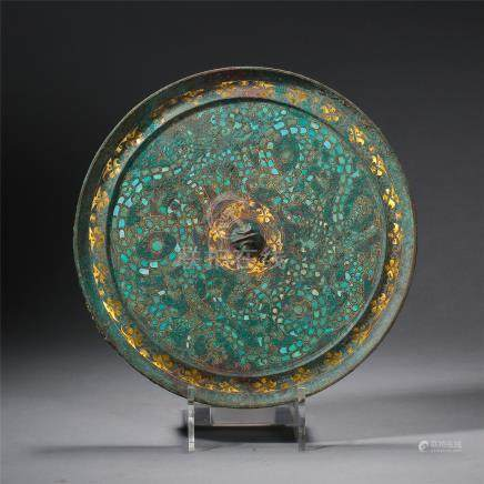 CHINESE GOLD SILVER TURQUOISE INLAID BRONZE ROUND MIRROR HAN DYNASTY