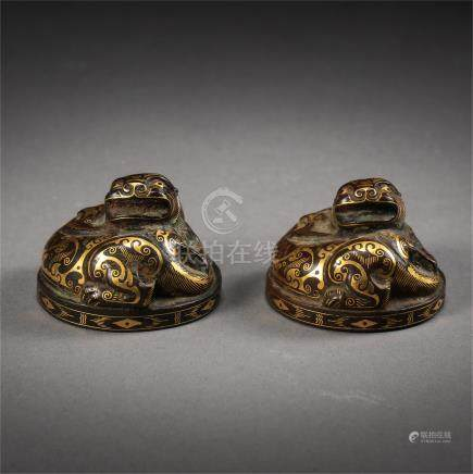 PAIR OF CHINESE GOLD SILVER BESAT
