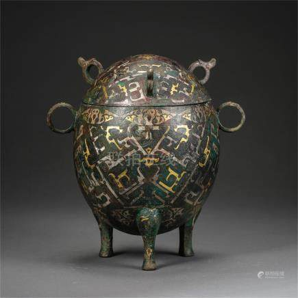 CHINESE GOLD SILVER INLAID BRONZE TRIPLE FEET LIDDED CENSER