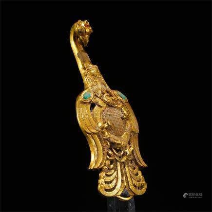 CHINESE PURE GOLD TURQUOISE BIRD BELT HOOK HAN DYNASTY