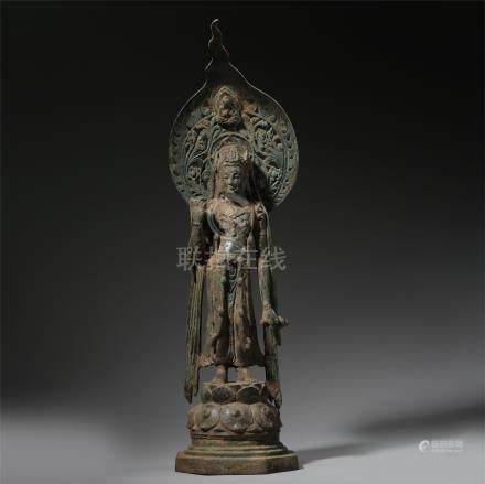 CHINESE BRONZE STANDING BUDDHA TANG DYNASTY