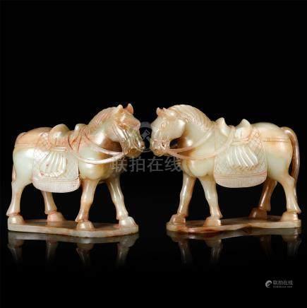 PAIR OF CHINESE JADE HORSES