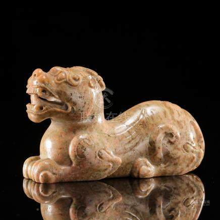 CHINESE ANCIENT JADE COUCHING BEAST HAN DYNASTY