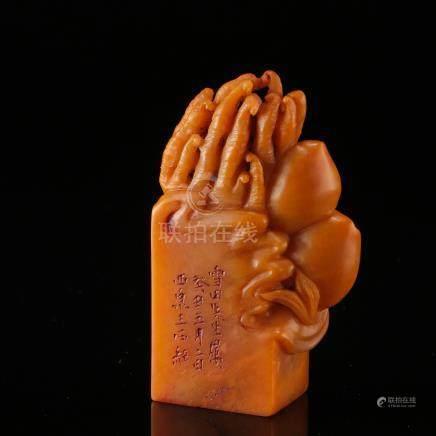 CHINESE TIANHUANG STONE BUDDHA HAND SEAL