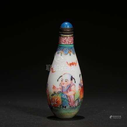 CHINESE PEKING GLASS ENAMEL SNUFF BOTTLE