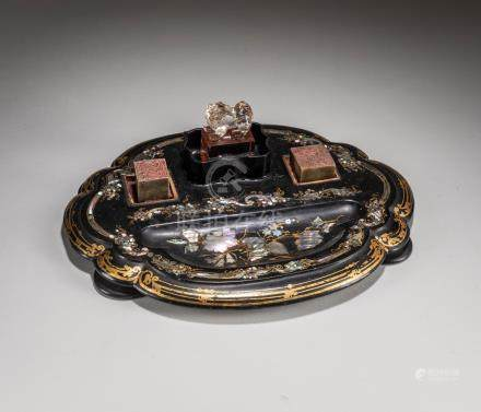 19th Kuangxu Period Chinese Antique Lacquer Stationery Box