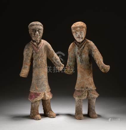 Pair Han Chinese Antique Pottery Figures