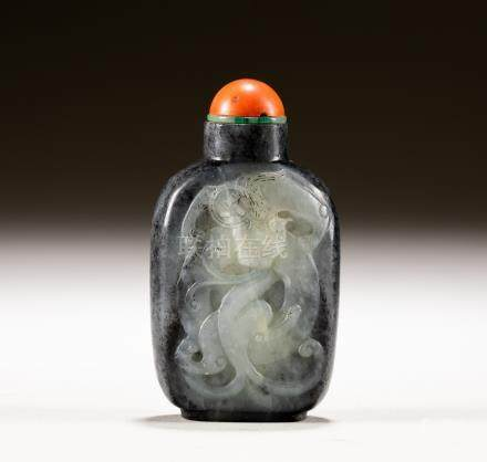 19th Chinese Antique Black White Jade Snuff Bottle