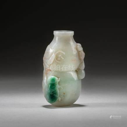 18-19th Chinese Antique Jadeite Snuff Bottle