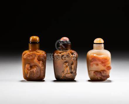 Group 19th Cameo Agate Snuff Bottles