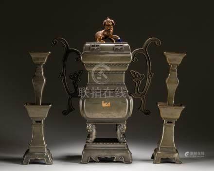 Set Of 19th Chinese Antique Tins Altar Garniture