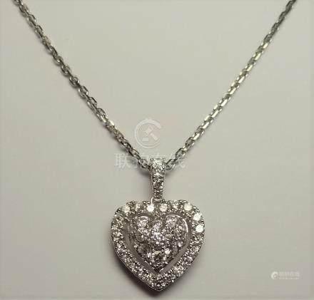 """Pendentif """" Coeur """" et chaîne diamantée en or gris, 750 MM, recouvert de brilla"""
