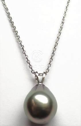 Pendentif et chaîne diamantée en or gris, 750 MM, orné d'une belle perle de Tah
