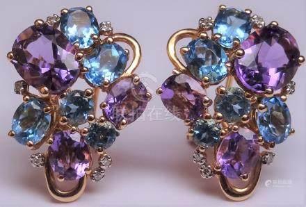 Jolies boucles d'oreilles en or rose, 750 MM, ornée chacune d'améthystes, topaz