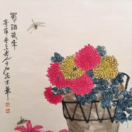 Chinese Hanging Scroll of 'Flowers' Painting, Baishi Signature