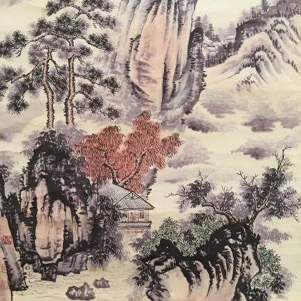 Chinese Hanging Scroll of 'Landscape' Painting, Wang Shimin Signature