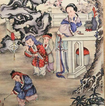 Chinese Hanging Scroll of 'Kids' Painting, Qiu Ying Bao Fu Signature