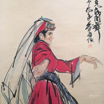 Chinese Hanging Scroll of 'Dancer' Painting
